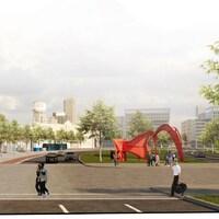Esquisse de la Vision d'aménagement pour le pôle urbain Wilfrid-Hamel-Laurentienne représentant l'entrée nord de la ville, dans le quartier Saint-Roch.