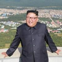 Montage (le président russe à gauche et son homologue nord-coréen à droite).