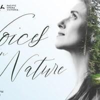 sur l'affiche l'événement Voices in Nature, il y a le visage d'une femme qui se fond dans une forêt.