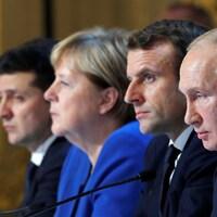 Volodymyr Zelenskiy, Angela Merkel, Emmanuel Macron et Vladimir Poutine