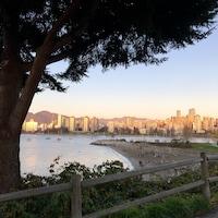 Prise de vue à partir d'une piste cyclable de Kitsilano, on peut y voir un arbre en avant plan, un peu plus bas une plage. De l'autre côté de la baie, on y voit le quartier West End de Vancouver et les montages en arrière-plan. Belle lumière sur les édifices.