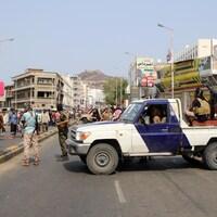 Les forces de sécurité loyales aux séparatistes du sud du Yémen à Aden.