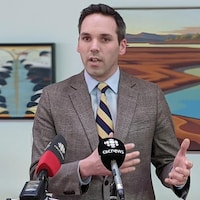 Currie Dixon en conférence de presse.