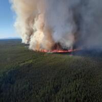 Un feu de forêt aperçu du haut des airs.