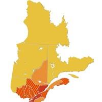 Les régions du Québec sont colorées en fonction des paliers d'alerte de COVID-19.