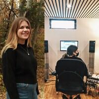 Une jeune femme pose dehors dans un décor automnal et dans un studio d'enregistrement de musqiue.