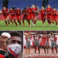 Mohammed Ahmed tient sa médaille d'argent, les relayeurs sont drapés de drapeaux canadiens et des joueuses de soccer exultent après le tir gagnant.