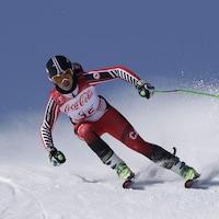 Alana Ramsay attaque la piste de super-G des Jeux paralympiques de Pyeongchang, en 2018.