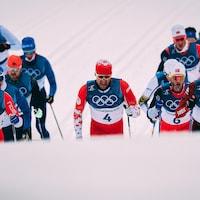 Alex Harvey (4) pendant l'épreuve du skiathlon des Jeux olympiques de Pyeongchang