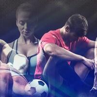 Un joueur de basket porte un ballon dans sa main gauche, une gymnaste et un joueur de soccer regardent le sol et un athlète porte un ballon de volley sous le bras. Ils semblent tous avoir la mine basse.