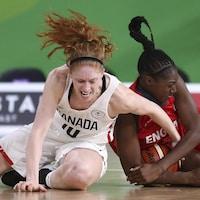 Deux joueuses de basketball sont au sol et luttent pour le ballon.