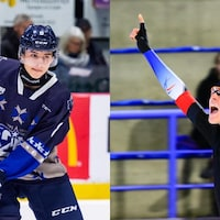 Deux jeunes font du sport, un en hockey, l'autre en patinage de vitesse.