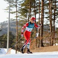 La fondeuse Cendrine Browne en action lors d'une montée aux Jeux olympiques de Pyeongchang 2018.
