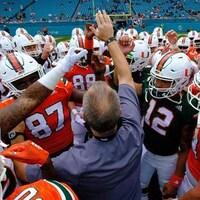 Les joueurs des Hurricanes de l'Université de Miami ont disputé un match intraéquipe au Hard Rock Stadium le 14 avril dernier.