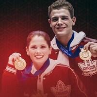 Jamie Salé et David Pelletier montrent leur médaille d'or des Jeux olympiques de Salt Lake City.