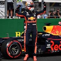 Il lève les bras après avoir obtenu la pole position du Grand Prix de Hongrie.