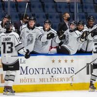 Des joueurs de hockey célèbrent un but pendant un match.