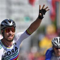 Peter Sagan croise la ligne en vainqueur lors de la 2e étape du Tour de France 2018.