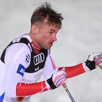 Petter Northug essoufflé à l'arrivée du sprint des Championnats du monde de ski de fond 2017.