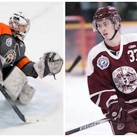 Montage avec deux photos montrant des joueurs de hockey en action.