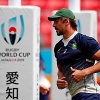 Le Sud-Africain est à l'entraînement à la Coupe du monde de rugby au Japon.