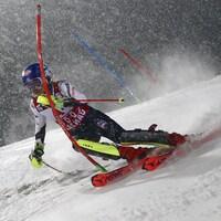 L'Américaine Mikaela Shiffrin dévale la piste de Flachau, en Autriche, en Coupe du monde.