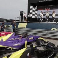Le podium de la course de Misano en Italie, troisième étape de la saison inaugurale de la W Series