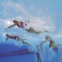 L'équipe canadienne féminine de water-polo.