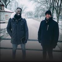 Photo de Xavier Jourson et du triathlète Georges Gay.