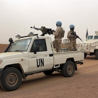 Une patrouille de Casques bleus de l'ONU à Kidal, au Mali.