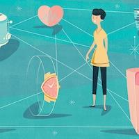 Illustration d'une personne qui jongle avec plusieurs objets connectés dans sa maison, soit un réfrigérateur, une montre, un téléphone intelligent, un grille-pain et un intercom.