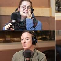 L'actrice Amélie Grenier, l'auteure Annabel Soutar, l'auteur et comédien Alex Ivanovici et l'actrice Pascale Bussières sont dans un studio de radio.