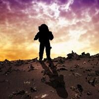 Silhouette d'un astronaute sur un terrain rocailleux.