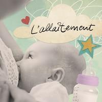 Un bébé tète au sein, un biberon et l'inscription « L'allaitement »