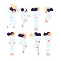 Huit petites illustrations d'une femme qui dort avec un oreiller.