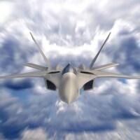 Vue de face de l'avion qui vole dans le ciel à très grande vitesse.
