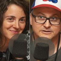 Annie Guglia, Dan Mathieu et Alex Auchu au micro de Stéphan Bureau.