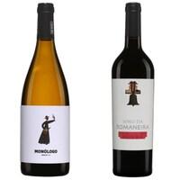 Deux bouteilles de vin blanc et rouge du Portugal.