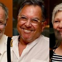 Serge Letarte, Michel Boulanger et Hélène Grégoire sourient au micro de Stéphan Bureau.