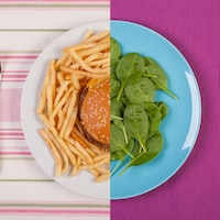 Une assiette coupée en deux. À gauche, une assiette remplie d'un hamburger, à droite, des feuilles d'épinard.