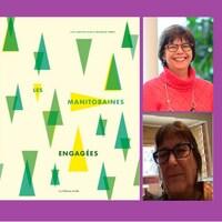 La couverture du livre 'Les manitobaines engagées' et les auteures Lise Gaboury-Diallo et Michelle Smith.
