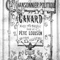 Impression en noir et blanc portant le titre « Chansonnier politique du Canard » et montrant des illustrations de chérubins tenant des feuilles de papier.