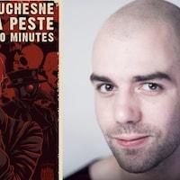 Affiche du spectace Charles Beauchesne parle de la peste noire pendant 60 minutes et portrait de l'humoriste.