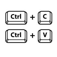 Illustration montrant les touches de clavier CTRL, C et V.
