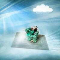 Une représentation de Shéhérazade, volant sur un tapis.