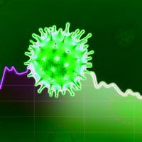 Le dessin d'une cellule du coronavirus sur fond de graphique représentant l'économie.