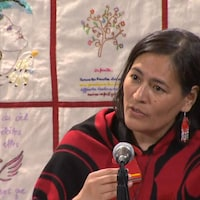 Michèle Audette, répondant aux questions des journalistes.