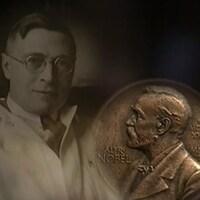 Photo de Frederick Banting et d'une médaille célébrant le prix Nobel de médecine que le médecin canadien a obtenu en 1923.