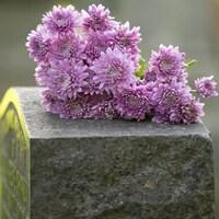 Des fleurs sur une pierre tombale.