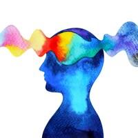 Dessin du profil d'une personne dont le cerveau est traversé par des pensées.